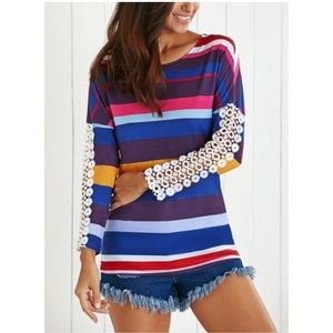 Tops - Striped Lace Sleeve Tee
